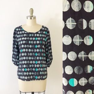 Anthropologie Moonphase Blouse Celestial Blue T862